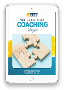 tablet with ipec's finding the right coach guide